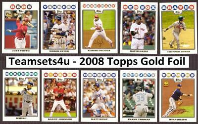 2008 Topps Gold Foil Baseball Set ** Pick Your Team * Checklist in Description