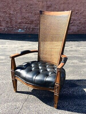 Antique Cane Leather High Back Chesterfield Arm Chair Tuft Mid Century Art Deco