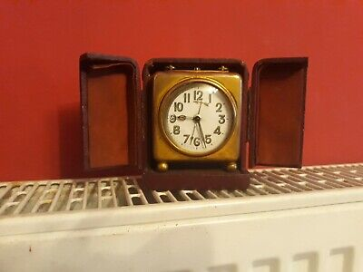 German Brass Travel Clock vintage