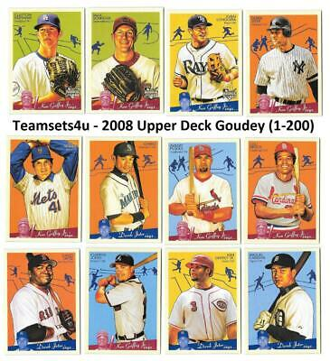 2008 Upper Deck Goudey (1-200) Baseball Set ** Pick your Team ** See Checklist