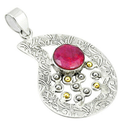 Victorian Natural Red Ruby 925 Sterling Silver Two Tone Pendant M21988