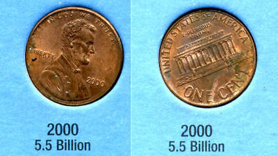 2000 P ABE Lincoln Memorial AMERICAN PENNY 1 CENT US U.S AMERICA ONE COIN #B1