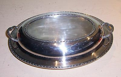 Poole Silver Co. Taunton Mass 3016 Covered Serving Dish Oval Bowl