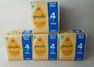 16 X Bars Johnson's Baby Soap With Honey Ideal For Delicate Baby Soft Skin 100g