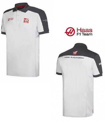 POLO Formula One 1 Mens Haas F1 Team Sponsor PoloShirt NEW! White & Grey S