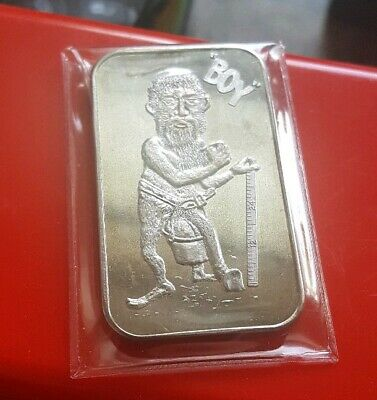 "Vintage Rare ""You Call Me Boy?"" 1 troy oz .999 Fine Silver Art Bar - Nude Funny"