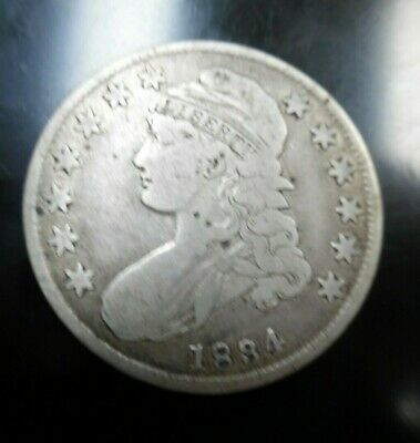 1834 Capped Bust US Silver Half Dollar, Extremely Nice Details circulated NICE