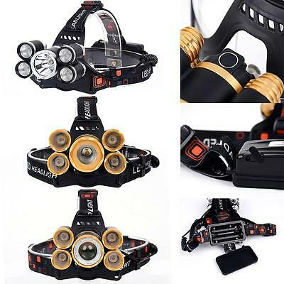 80000LM 5  T6 LED Rechargeable USB Headlight Zoom Fishing Flashlight Torch AO