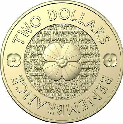 2012 Australian $2 Remembrance Gold Poppy Coins Circulated But Good Condition
