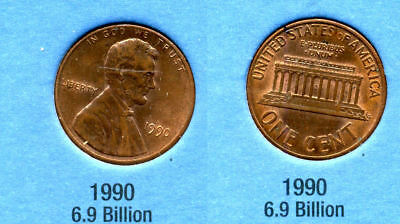 1990 P ABE Lincoln Memorial AMERICAN PENNY 1 CENT US U.S AMERICA ONE COIN #B1