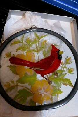 Vintage COLLECTOR CARDINAL PAINTED ON GLASS WITH STAINED GLASS METAL FRAME
