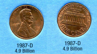 1987 D ABE Lincoln Memorial AMERICAN PENNY 1 CENT US U.S AMERICA ONE COIN #B1