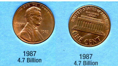 1987 P ABE Lincoln Memorial AMERICAN PENNY 1 CENT US U.S AMERICA ONE COIN #B1