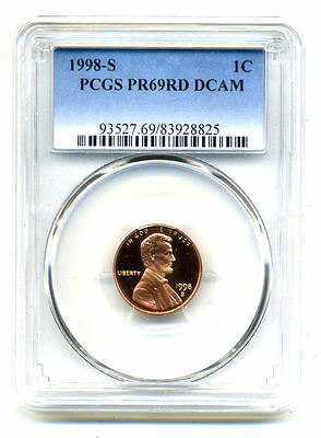 Pcgs Pf69 Rd Deep Cameo 1998 S Lincoln Proof Dcam Gem Bu 1C Cent Penny Coin#3278