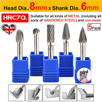 5Pcs 1/4'' Rotary Burr Drill Bits Tungsten Carbide Metal Wood Carving Grinding