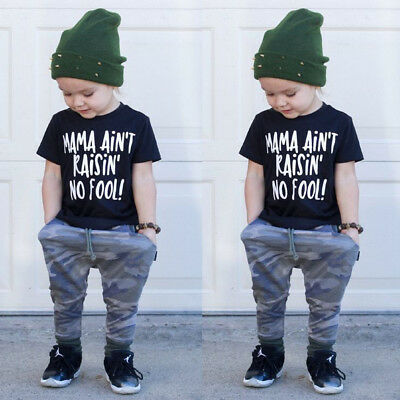 Fashion Toddler Baby Boy Clothes T-shirt Top+Camo Long Pants Kids Outfits Summer