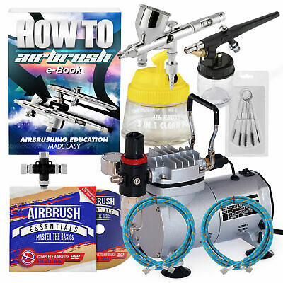 New Dual Action Airbrush Kit with 2 Guns