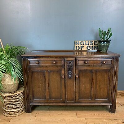 Rustic Antique Vintage Oak Sideboard Display Cabinet Cupboard Drawers Unit