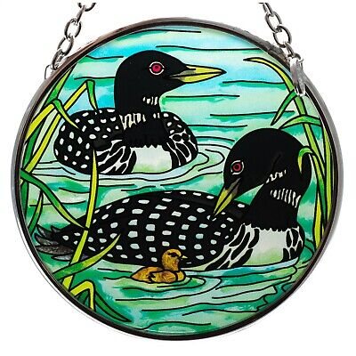 """Loons With Chick Hand Painted Glass Suncatcher By AMIA Studios 3.5"""" New"""