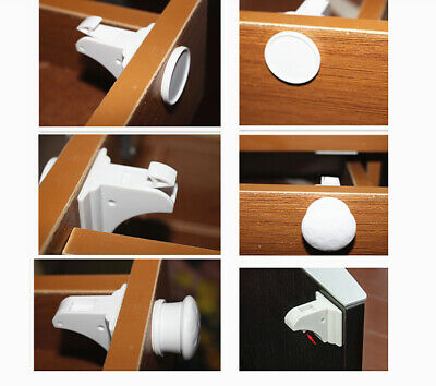 4pcs Magnetic Cabinet Locks Baby Safety Invisible Child Proof Cupboard Drawer