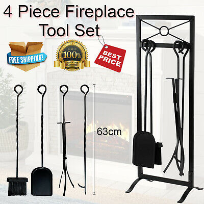 4 Piece Fireplace Tool Set Shovel Brush Poker Tongs with Stand Wrought Iron.