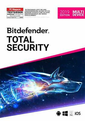 Bitdefender Total Security 2018/2019 Multi-Device 1-5 PC/Geräte 1/2Jahr Download