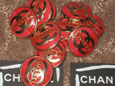 Chanel 10 Matte Gold Metal Red Enamel Buttons 22 Mm/ Around 1''   Cc Logo Lot 10