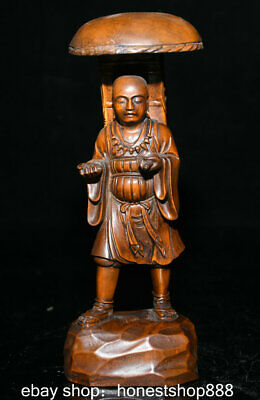 "7.2"" Old China Temple Boxwood Wood Carved Buddhist shaman Monk Buddha Sculpture"