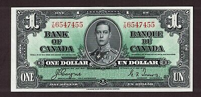 Bank Of Canada 1937 $1.00 Coyne Towers Banknote Serial Number T/N6547455 Au-Unc