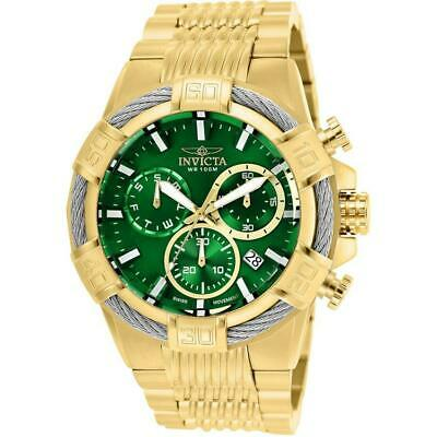 Invicta Bolt 25869 Men's Gold-Tone Swiss Movement Chronograph Green Dial Watch