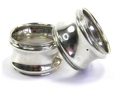 Antique pair of .925 sterling silver serviette napkin rings Birmingham 1898