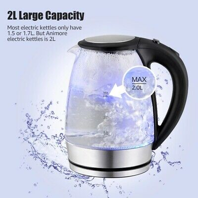 Animore 2L Glass Electric Kettle Stainless Steel