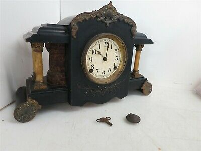 Antique F.S. USA 8 Day Mantle Clock Wood Copper 1/2 Hour Strike Cathedral P&R