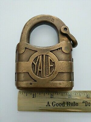 Antique Huge Yale & Towne Padlock Y&T Brass Lock rare 3 inch 1878 patent date