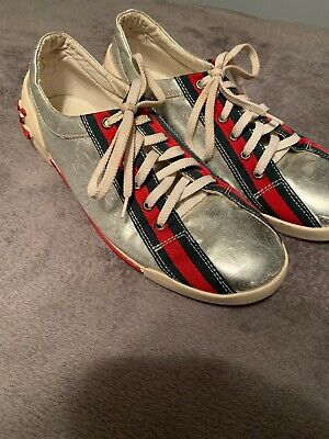 cf01dfaae Gucci Women's Distressed Sneakers Vintage Silver GG logo, Size 9.5 Authentic