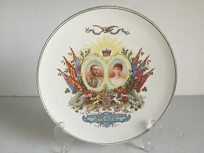 Antique King GEORGE V and QUEEN MARY Royal Wintonia China Coronation Plate 1911