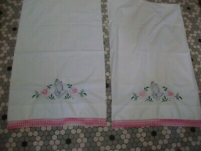 Pr Vintage Pillowcases w Embroidered Praying Hands & Roses - Pink Crocheted Trim