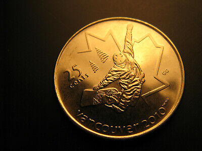 Canada 2008 Vancouver 2010 Olympics Snow Boarding 25 Cent Mint Coin.