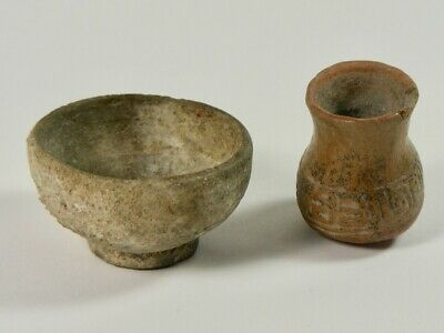 Miniature South American ? Antique Pottery Bowl And Vase