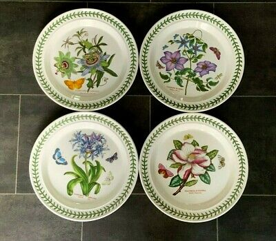"PORTMEIRION BOTANIC GARDEN SET of FOUR 10.5"" DINNER PLATES EXCELLENT CONDITION"