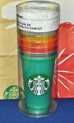 Starbucks 2018 Reusable Cup Collection 6 Different Colored 16 oz Cups w/Lids NEW