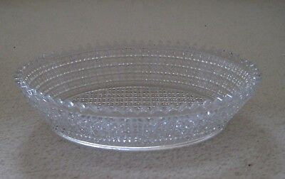 Val st lambert pressed glass oval dish scolloped edge