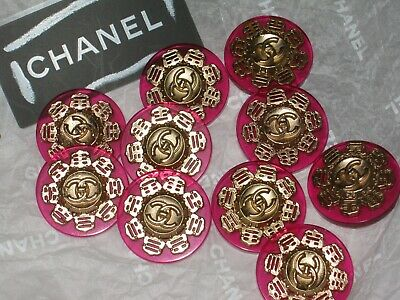 Chanel 10 Gold  Metal Cc Logo Front Pink Plastic Button  20 Mm /Under 1'' Lot 10