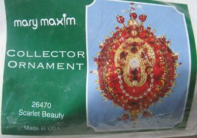 Scarlet Beauty Flocked Christmas Ornament KIT Red Gold Bead Sequin Collectable