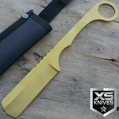"8"" GOLD Cleaver Straight Edge RAZOR Fixed Blade TANTO Hunting Knife W/ SHEATH"