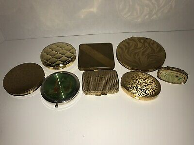 Lot Of 8 Vintage 40s-70s Compact Makeup Pressed Powder Mirror Lipstick Holder