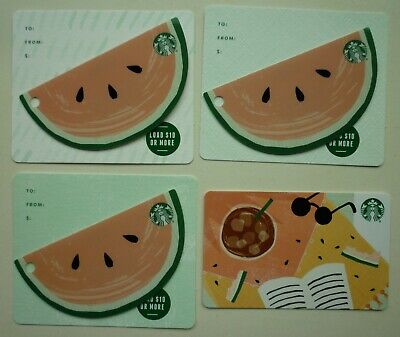 SET of 4  - STARBUCKS CARDS 2019 SUMMER SUNGLASSES / WATERMELON  2018 #6168