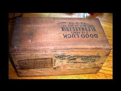 "ANTIQUE 1906 Vtg ADVERTISING Store ""GOOD LUCK"" OLEO MARGARINE Wooden Wood BOX"