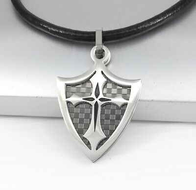 Medieval Crusades Knights Shield Templar Cross Pendant Black Leather Necklace