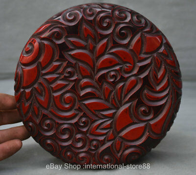 "7"" Collect Marked Old Chinese Red Lacquerware Dynasty Circle Jewelry Box"